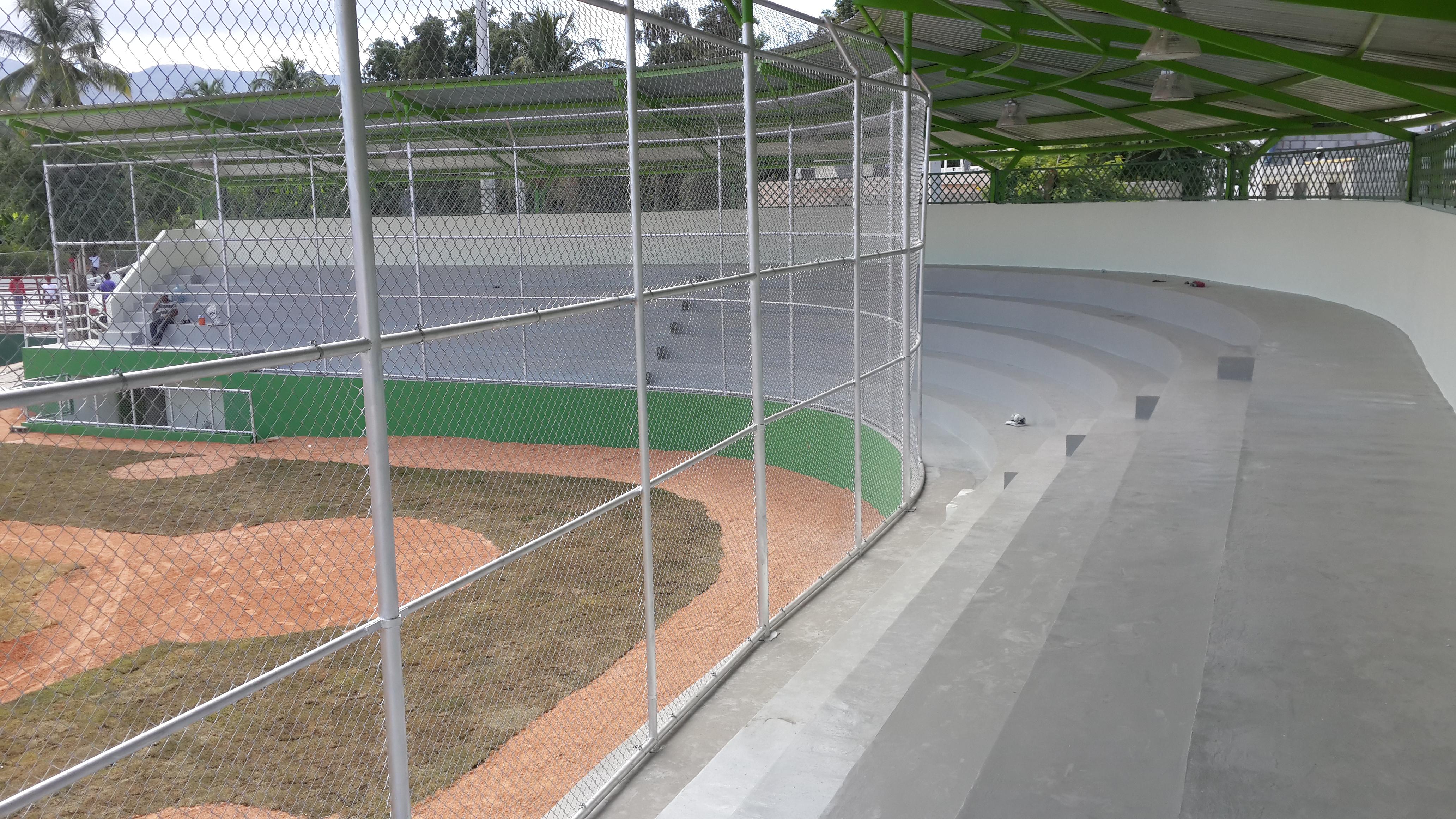 Construcción Estadio Para Béisbol de Fondo Negro